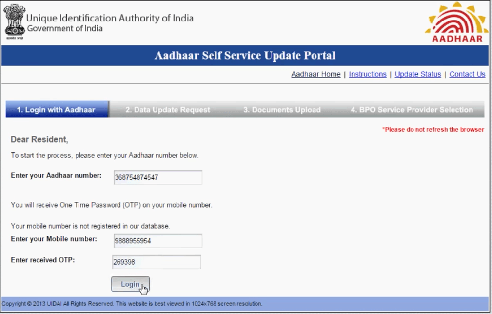 Aadhar Card Change Address Online