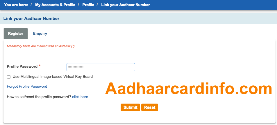 Aadhar Card link Bank Account SBI