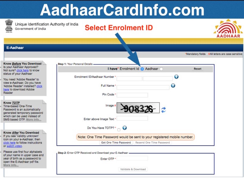Aadhar Card Enrollment Status
